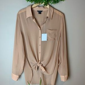 Moda International Tan Sheer Button Down